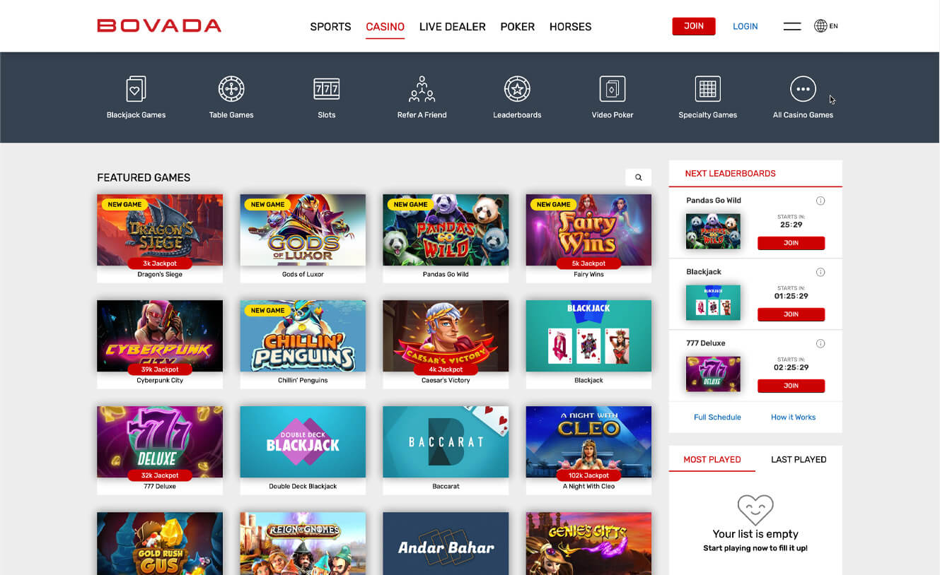Bovada Casino Games