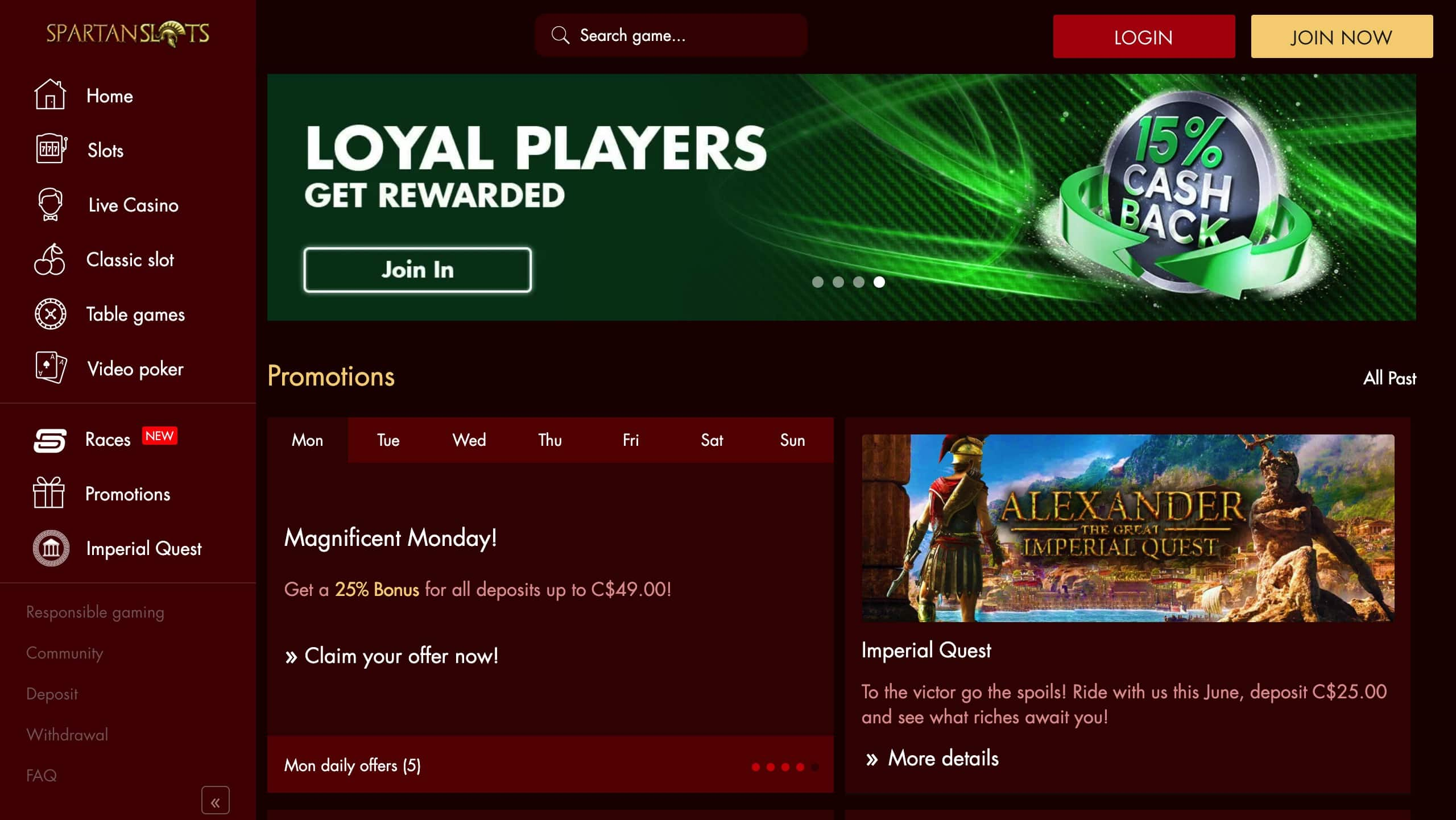 Spartan Slots Loyalty Program